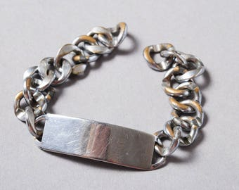 Vintage silver tone metal chain, part of  bracelet, chain bracelet.