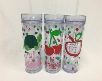Teacher apple, Personalized w/name acrylic tumbler, polka dots, Available in skinny, standard, sport bottle, mason, kiddie cup & XL cup