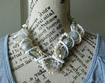 SALE SALE Statement Necklace Bridal Silver toned flower Chunky Necklace for Women, Boho, Large with all white and silver