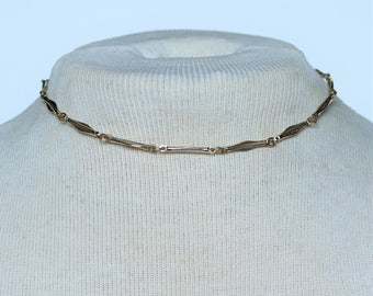 Vintage Goldtone Bar Link Gold Tone Geometric Simple Classic Plain Choker Length Necklace