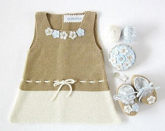 ON SALE Knitted baby dress in camel and pearl with little flowers , matching shoes. 100% cotton. Newborn Item UNIQUE.