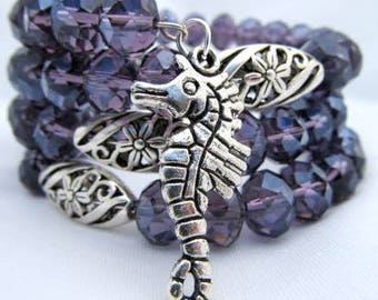 Purple Crystal Memory Wire Coil 4 coils charms silver accents cuff