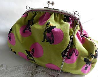 Retro bag in khaki fabric with fuchsia dots, with dog motif