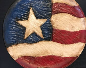 Hand carved decorative wood plate - Americana - hand painted