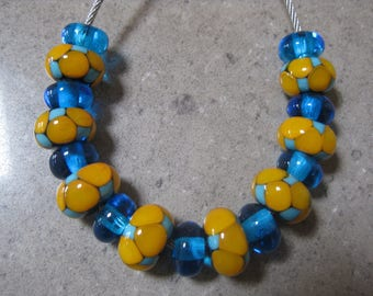 Lampwork Glass Bead. Yellow and Blue Mosaic Dot Bead Set. Handmade Glass Beads. Australian Artisan Glass Beads. Kiln Fired Glass Beads.