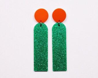 POP JEWELS - Pop Sticks Earrings - Laser Cut - Green Glitter/Orange Acrylic Earrings