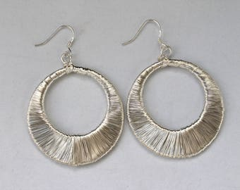 Large Sterling Silver Wire Wrap Donut Dangle Earrings