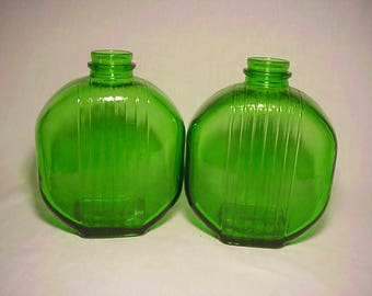 Set of Two c1930's Emerald Green Glass Ribbed Prune Juice bottles Great Wedding Decor No. 2