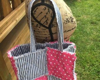 Tote - women's purse - totebag - bag - pink tote - striped bag - small handbag - free shipping