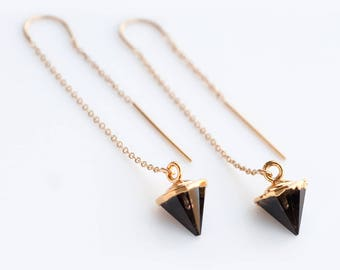Smokey Quartz Earrings, 14k Gold Filled Threader, Gemstone Spike Earrings, Ear Thread Earrings, Threader Earrings, Dainty, Bridesmaid Gift