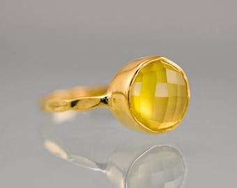 40 OFF - Yellow Chalcedony Ring - Gemstone Ring - Stacking Ring - Gold Plated - Round Ring
