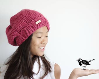 Chunky Knit Hat,Slouchy Hat,Knit Beanie,Winter Hat // Raspberry // The Chelsea