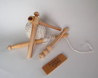 Set of Tools - Montana Hand Spinner, 6 inch Yarn Gauge/Ball Winder & Wrist Distaff - Apple Wood