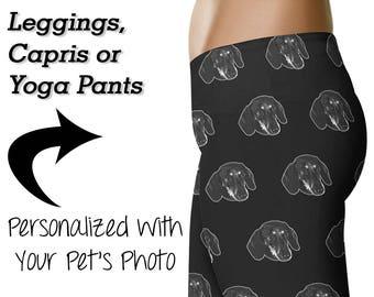 Personalized Dachshund Leggings / Custom Dachshund Printed Leggings / Wiener Dog Yoga Pants / Womens Clothing / Doxie Mom / Workout / Gift