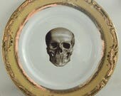 Yellow & Gold Skull Dinnerware, Skull Dish, Skull Plate, Skeleton Tableware, Halloween Plate, Skull China, CUSTOMIZE w. Your Own Image
