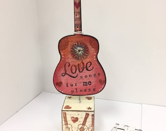Love song, first dance, GUITAR, guitar art, music lover, musician, wedding gift, gift for girl, bridal gift, music teacher, boho, love,