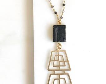 Long Black Boho Style Necklace. Raw Crystal Necklace. Unique Long Gold Necklace. Boho Jewelry.