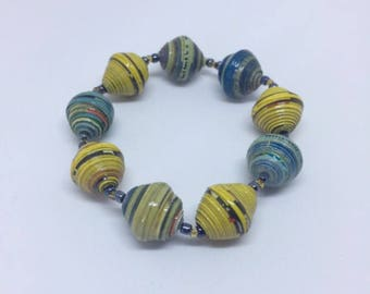 Paper bead bracelet, recycled bracelet, yellow bracelet, blue bracelet, paper bracelet, eco jewellery, recycled jewellery, stretch bracelet