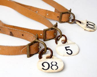 vintage cow collars, collection 3 farm collars with tags