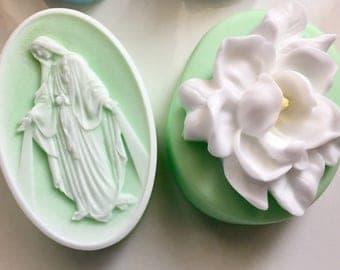 Mother Mary & Gardenia Flower Soap, Religious Soap, Flower Soap, For Mom, Mother's Day