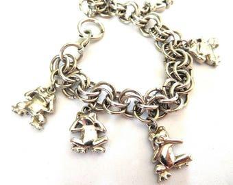 Vintage Frog Charm Bracelet Silver Chunky Hear/See/Speak no Evil Fun & Funky FROG Lovers!