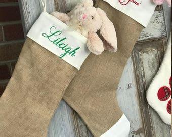 Burlap Christmas Stocking Personalized - Embroidered stocking - Burlap Stocking w Name - Large Stocking - Monogram