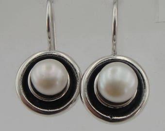 Pearl Earrings, israel jewelry ,white Stone Earrings, Fine 925 sterling silver round pearl earrings, Hanging Earrings,  earrings( vs 146se