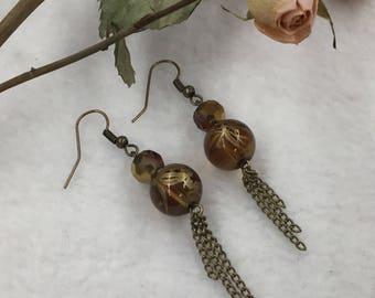 SJ Pearl Gold Dangle Earrings