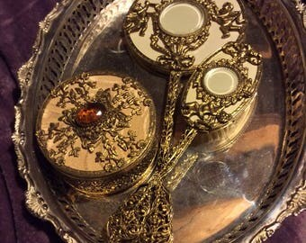 Antique mirrored tray Dresser Set, Vanity Set,  Brush, Comb, long handled mirror Mirror With Tray With Beautiful