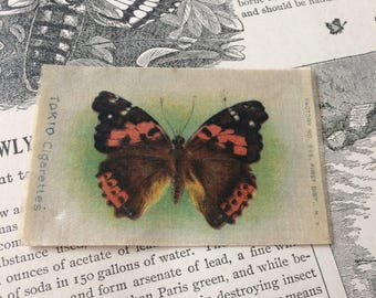 This Butterfly Will Never Fly Away Antique 1800s Tobacco Cigarette Silk