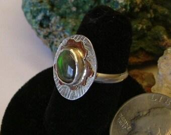 Bright Green, Orange Fire Gem Ammolite Found in Utah Deposit, .925 Sterling Silver Under Copper on Silver Fine Jewelry Size 8 Ring 696