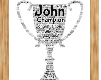 Football Soccer Any Sports Team Trophy Personalised Word Art Print