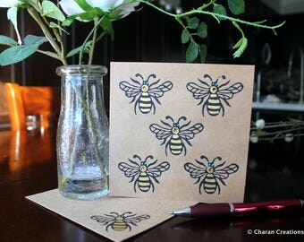 Hand Block Printed Card, Indian Theme Card, Hand Painted Kraft Card- Honey Bees