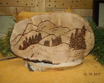 Affordable Funky Fungus Art by Mom Natural Dried Tree Conk w/ Evergreen Fir Trees & Mountains from The Black Hills of SD Wood-burning