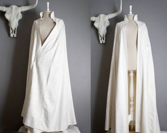 Long White Cloak - Long White Bridal Cloak - Long White Cape - Embroidered Long White Clock - Winter Wedding Cloak - White Costume Cloak