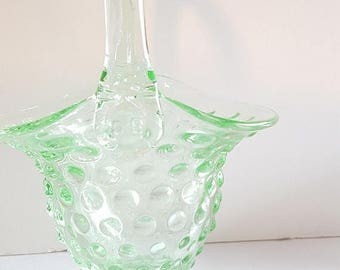 ON-SALE Green Glass Hobnail Easter Basket- Mint, Seafoam, Gorgeous Collectible
