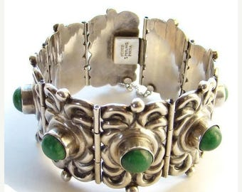 ON SALE C1940 Horacio de la Parra Huge Mexico Silver Link Bracelet Green Turquoise Signed