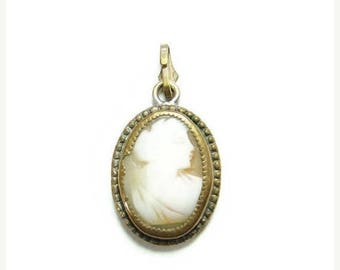 ON SALE Antique Victorian Carved Shell Cameo Necklace Pendant Gilt Setting Small
