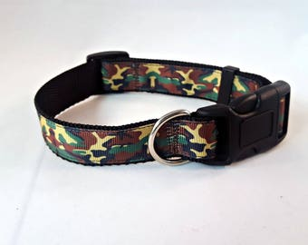 Dog Collar -Adjustable - Camo - Camouflage