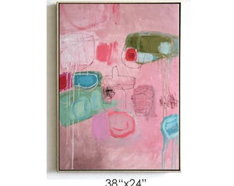 abstract painting rosa  original Painting Abstract Painting large Painting textured Painting from Jolina Anthony