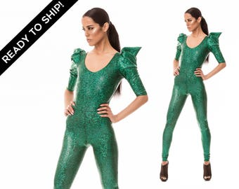 Signature Catsuit in Green, Jumpsuit, Unitard, Holographic Clothing, Dancewear, Metallic Catsuit, Poison Ivy Costume, Stage Wear, LENA QUIST