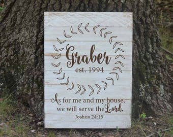 Personalized family sign - family initial - As for me and my house - Joshua 24:15 - Rustic decor - Rustic sign - hand painted Pallet sign