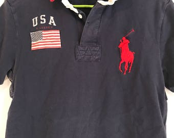 Vtg Polo Ralph Lauren Streetwear Shirt Size Medium Pony Flag Navy Blue
