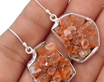 """Aragonite Star Cluster Earrings. 1 5/8"""" long. 8604"""