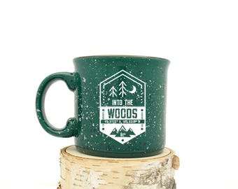 Camping Mug - Into the Woods Patch Illustration - Speckled Color Mug - Campfire Collection