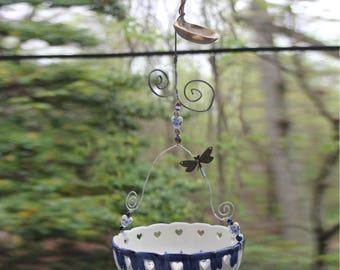 Whimsical Blue & White Ceramic Butterfly Feeder