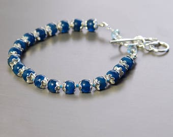 Apatite Sterling Silver Bracelet by Agusha. Teal Blue Gemstone Bracelet. Hand Tied Gemstone Bracelet