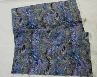 Lovely Quality Cotton Fabric Marbled Feathers Purples, Blues By the Yard 5 Yards Available