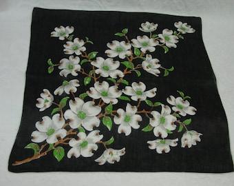 Vintage Hanky,Handkerchief Black with White Dogwood Flowers, Elegant