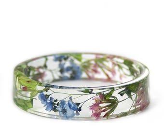 Pink and Blue Flower Jewelry -Blue Bracelet- Modern Flower Child- Resin Jewelry- Flower Bangle- Pink Flower Bracelet